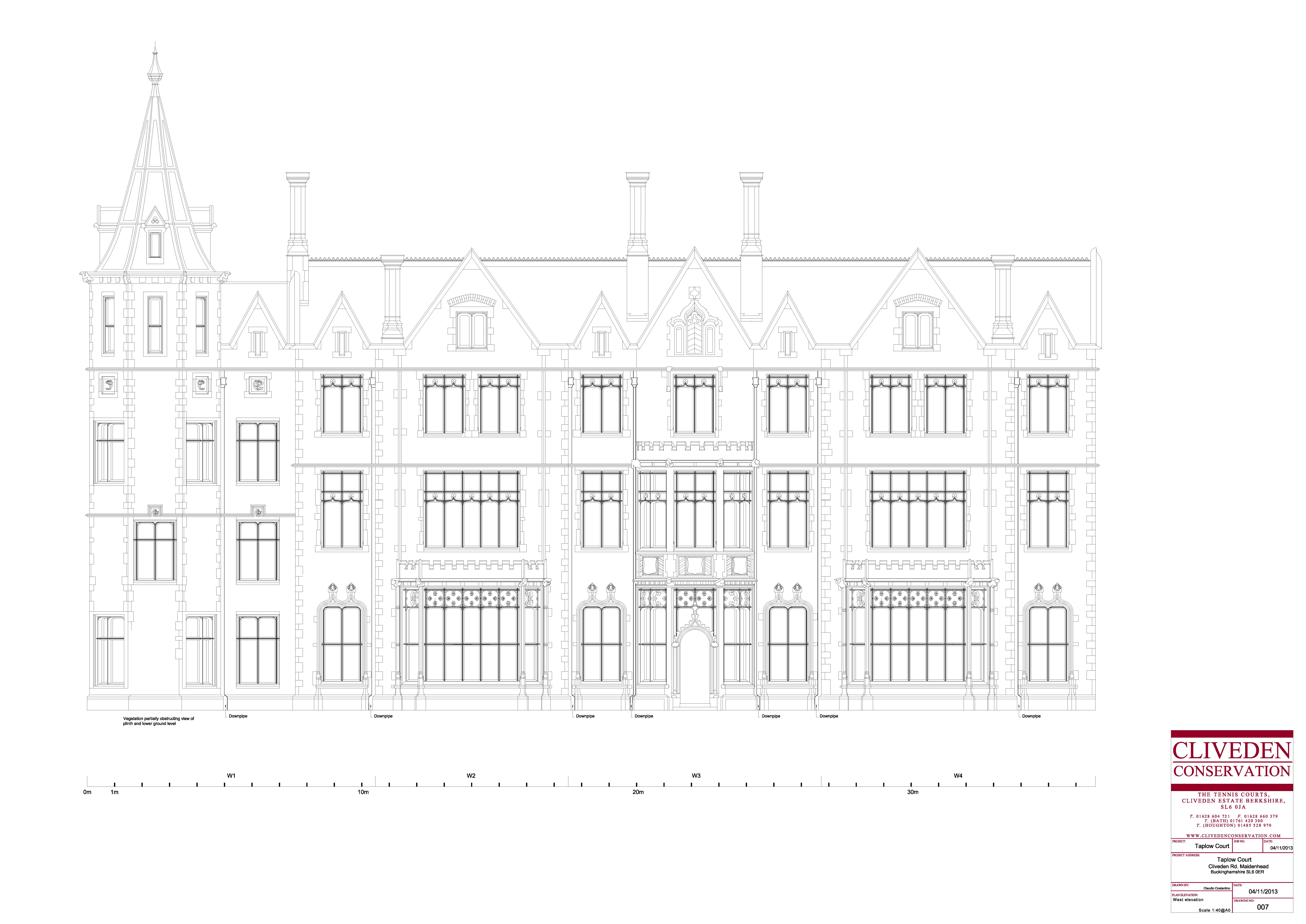 Stone Elevation Drawing : Survey cad drawings taplow court west elevation