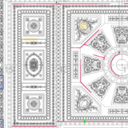 Onsite survey & CAD drawing -Claydon House saloon ceiling